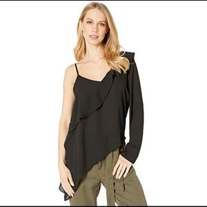 BCBGeneration Asymmetrical one sleeve top blouse